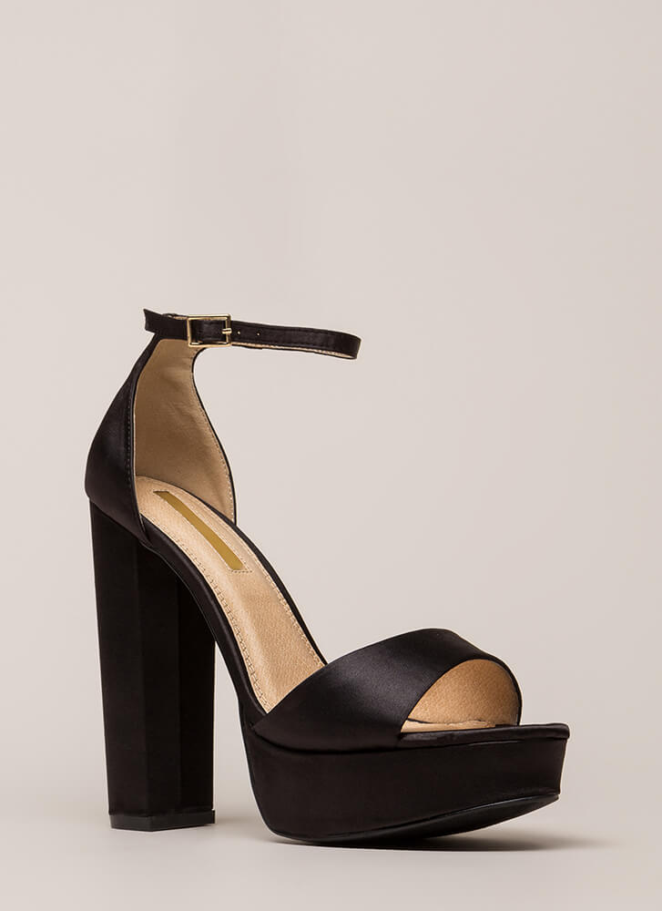 Fresh Pick Chunky Satin Platform Heels BLACK