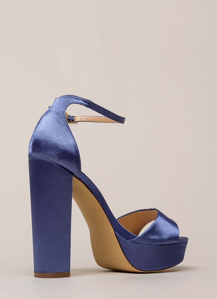 Fresh Pick Chunky Satin Platform Heels MOONLIGHT