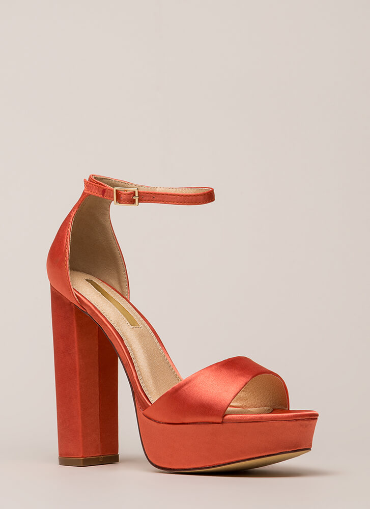 Fresh Pick Chunky Satin Platform Heels ORANGE