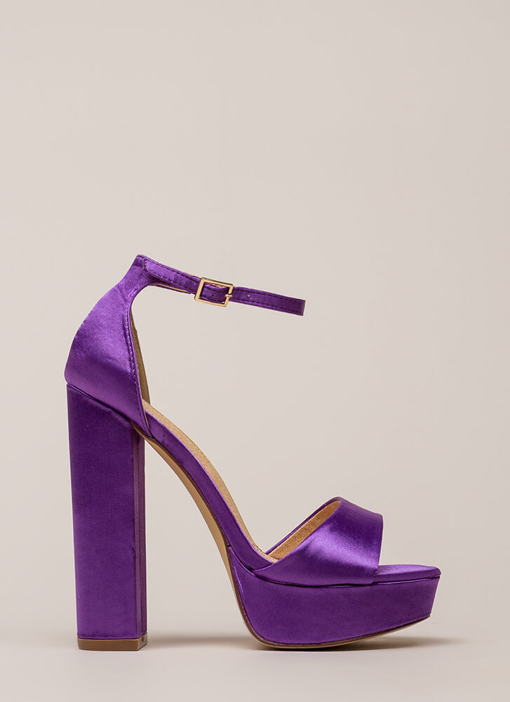 Fresh Pick Chunky Satin Platform Heels PURPLE