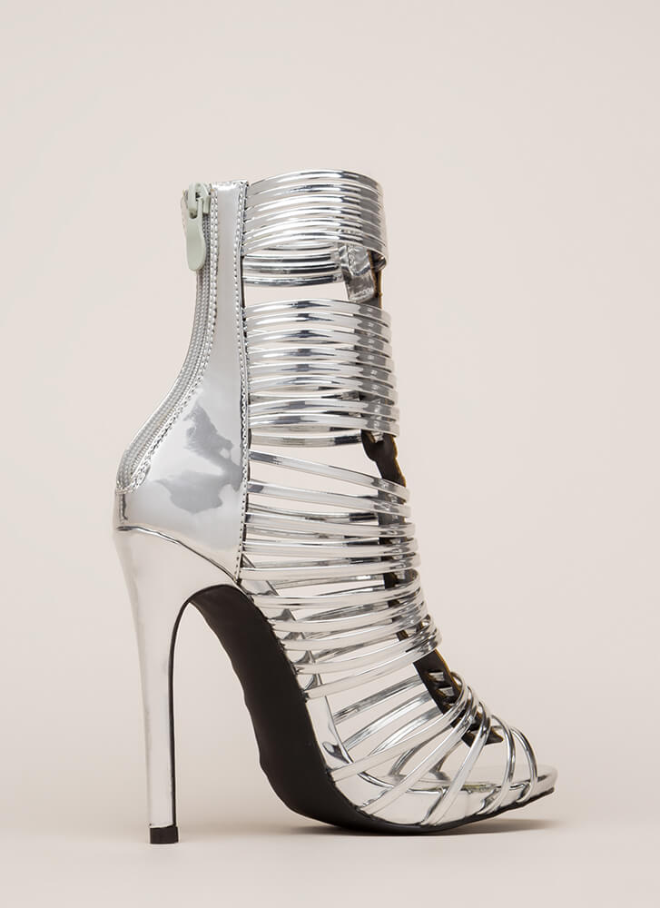 Stack Up To Be Metallic Gladiator Heels SILVER