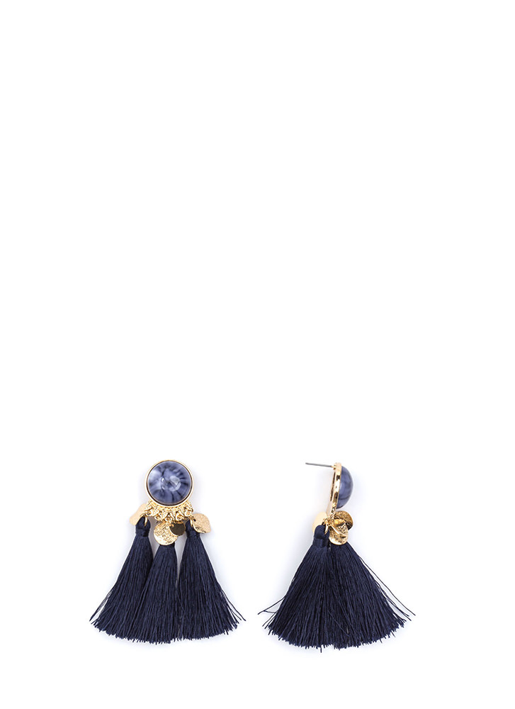 Taste For Tassels Faux Stone Earrings BLUE