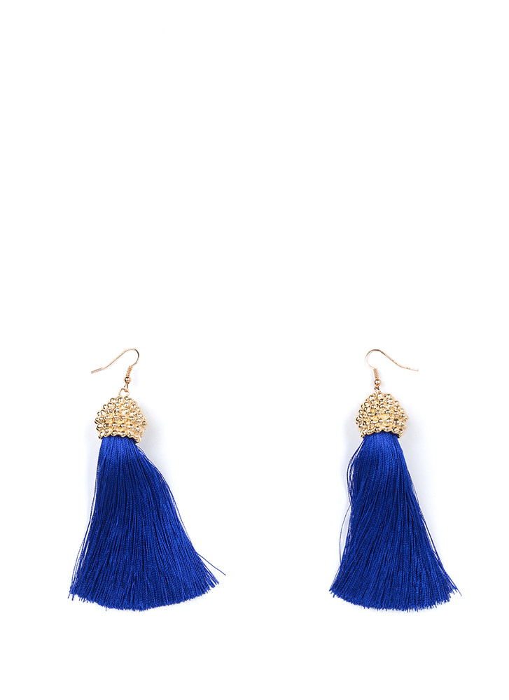 Boho Trip Textured Tassel Earrings BLUE