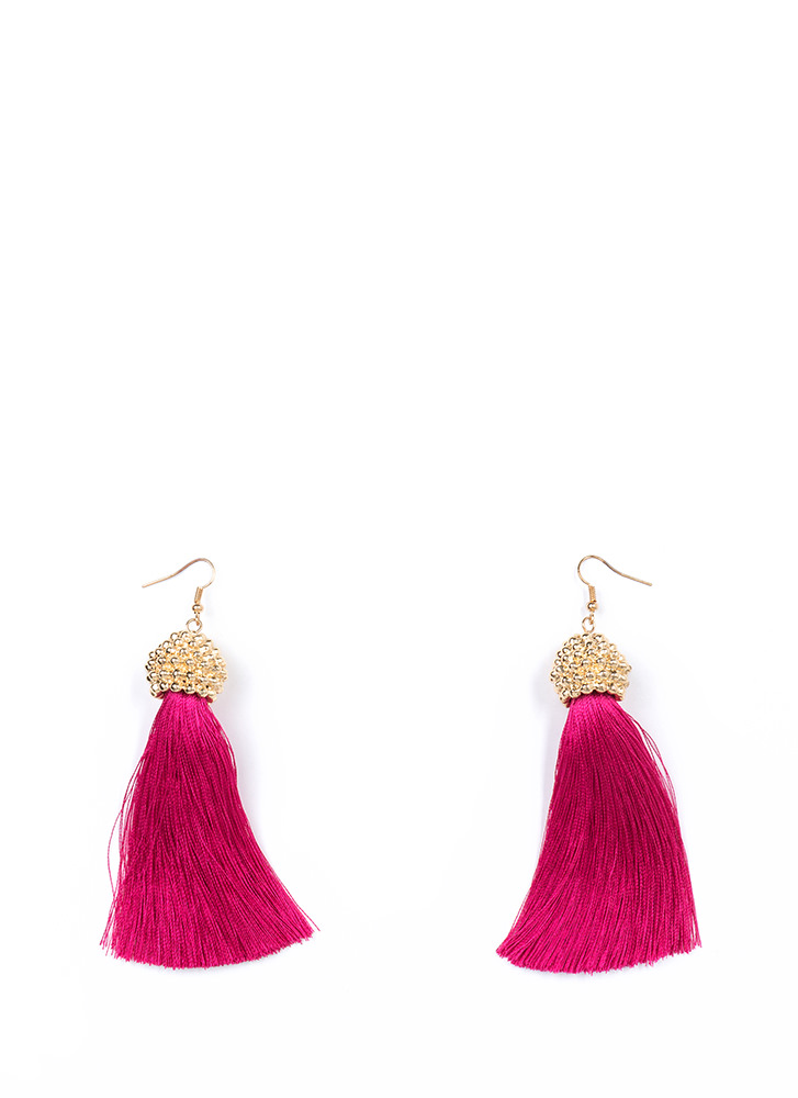 Boho Trip Textured Tassel Earrings FUCHSIA