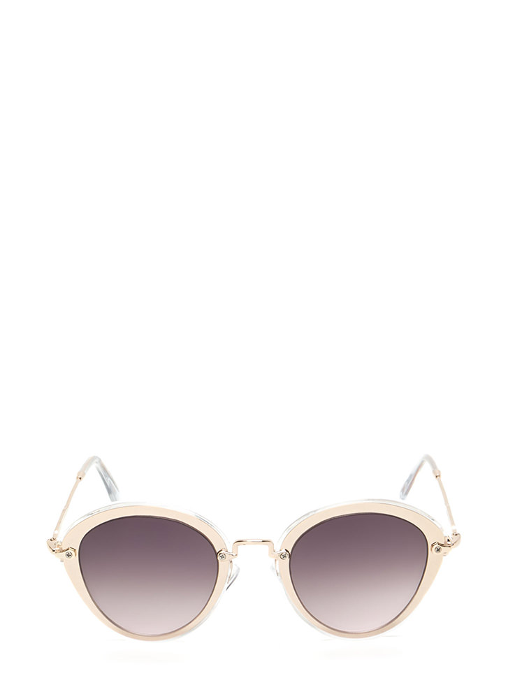 Naturally Cool Metallic Trim Sunglasses  CLEAR