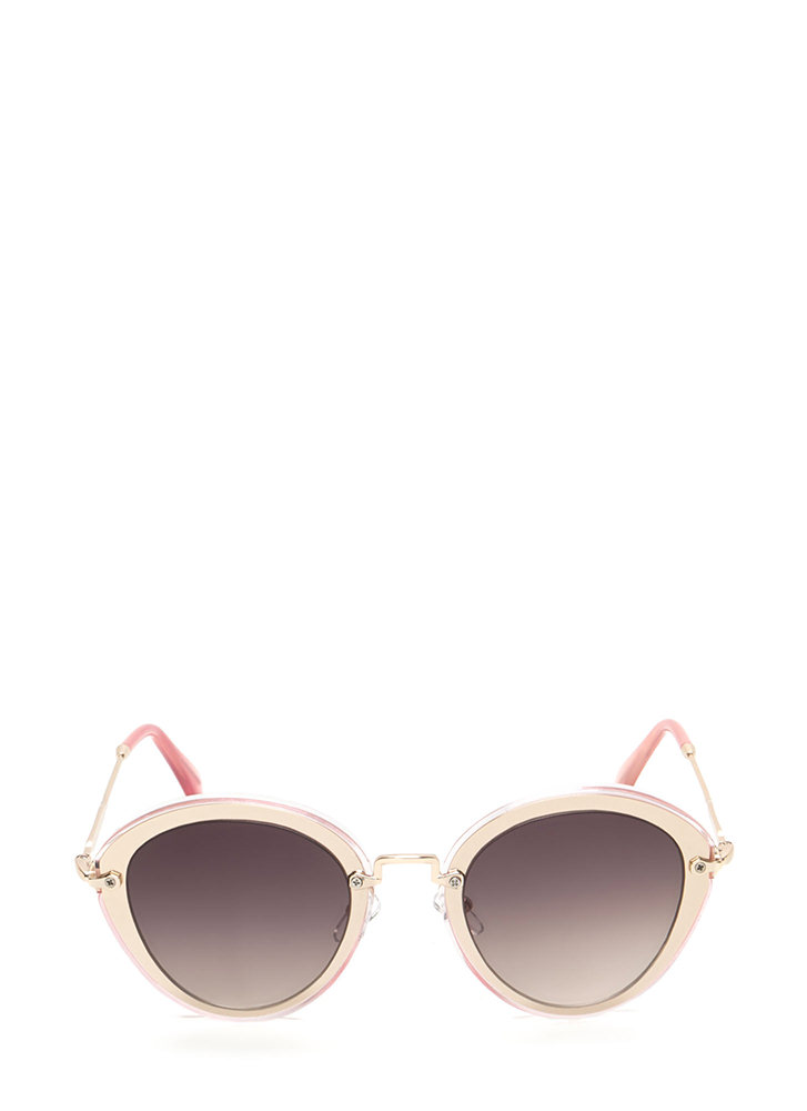 Naturally Cool Metallic Trim Sunglasses  PINK