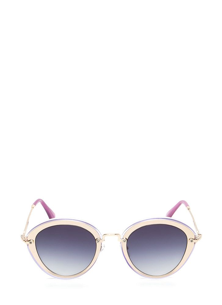 Naturally Cool Metallic Trim Sunglasses  PURPLE