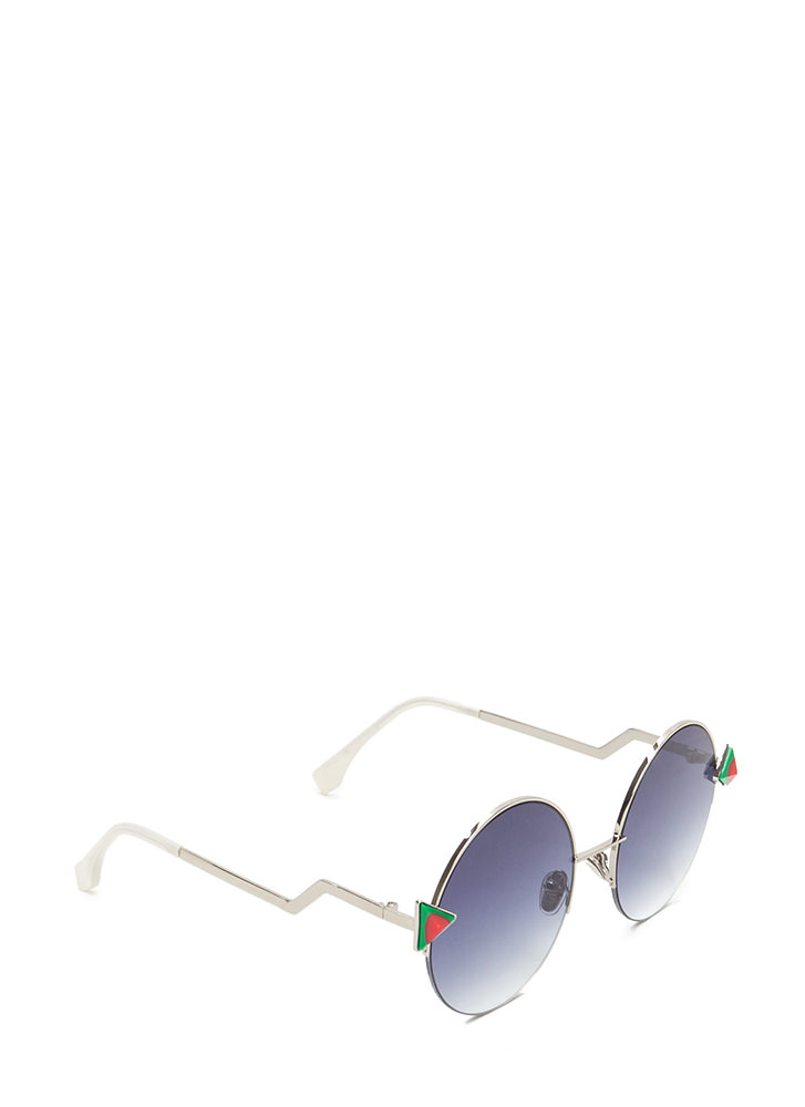 Shape Up Round Sunglasses REDGREEN (You Saved $6)