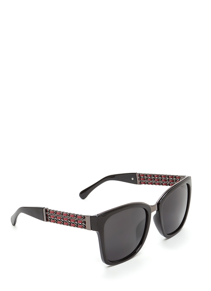 Yank Your Chain Square Sunglasses BLACKRED