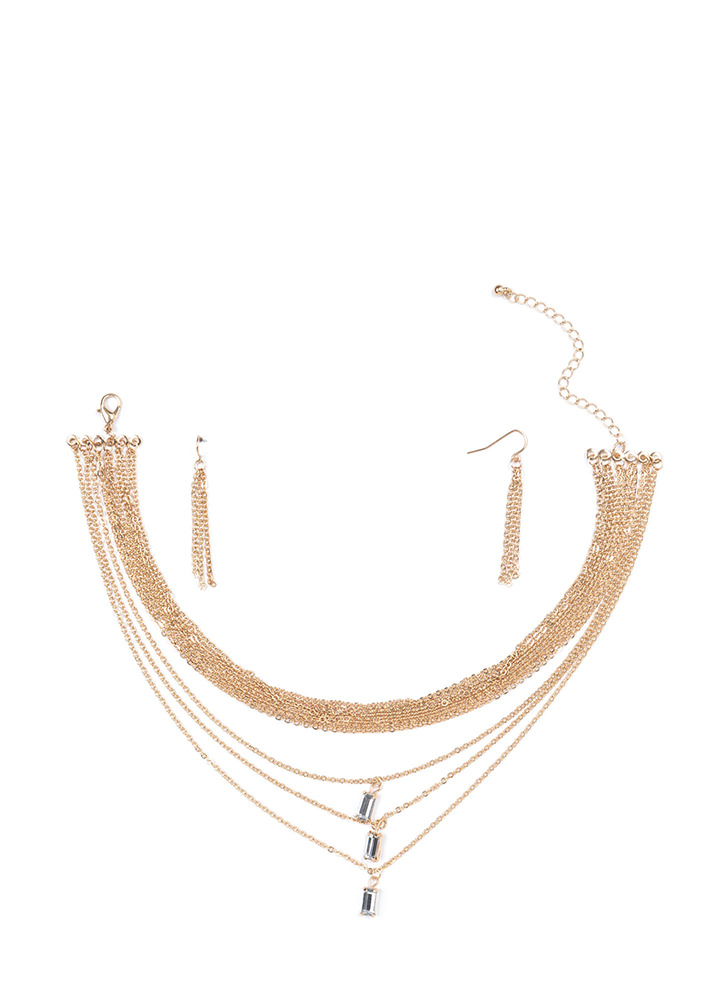 Triple Time Jeweled Layered Necklace GOLD