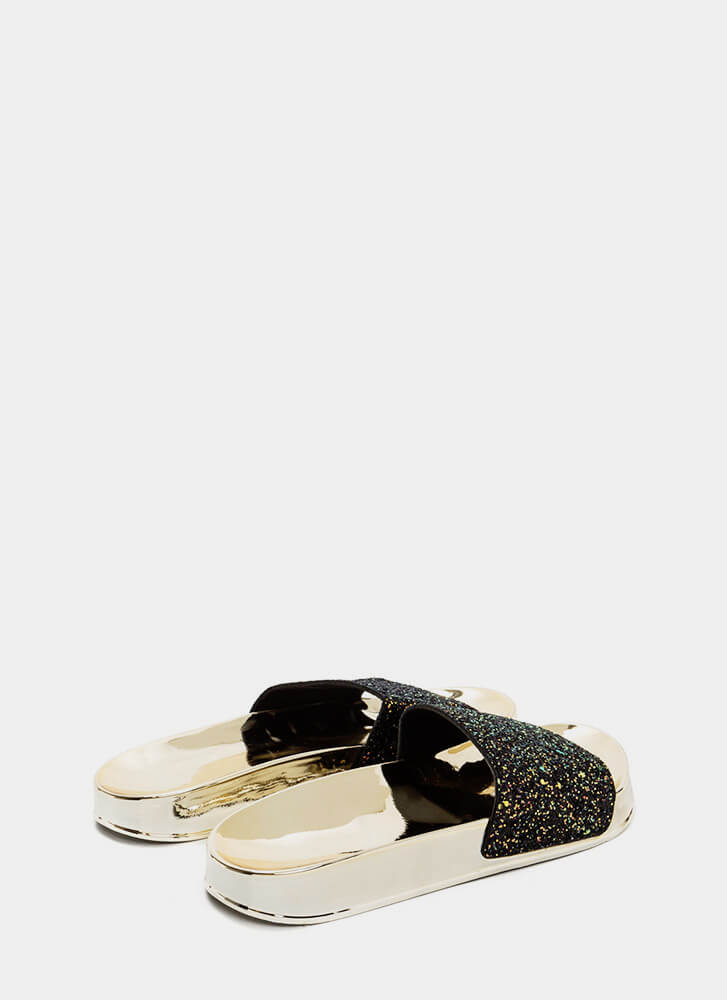 Sparks Will Fly Glittery Slide Sandals BLACK