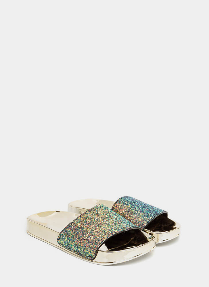 Sparks Will Fly Glittery Slide Sandals BLUE