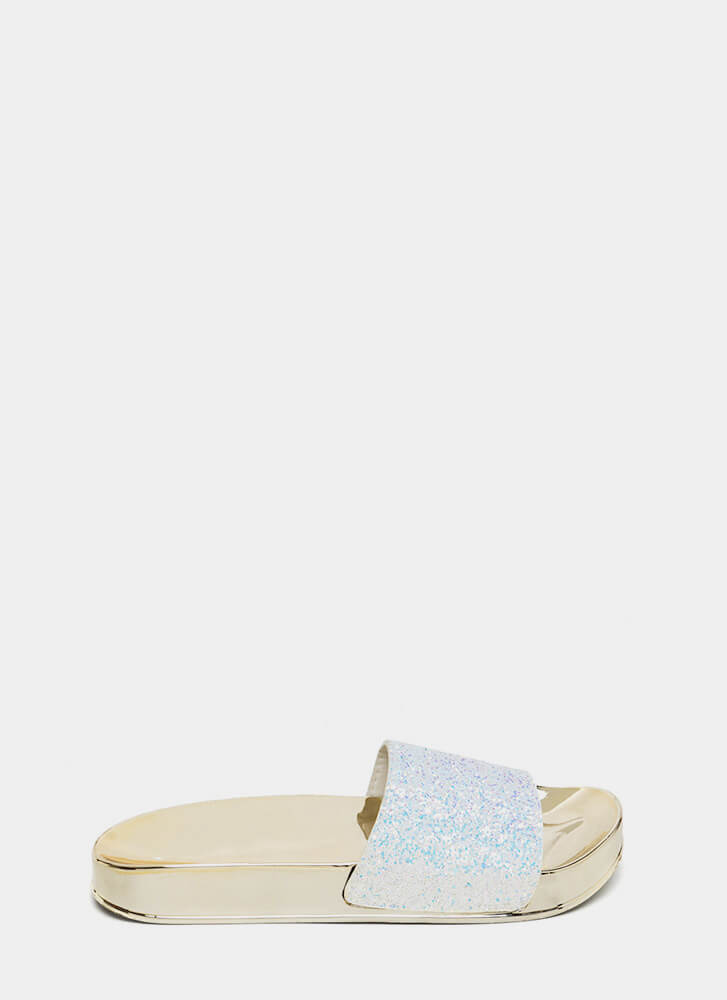 Sparks Will Fly Glittery Slide Sandals WHITE