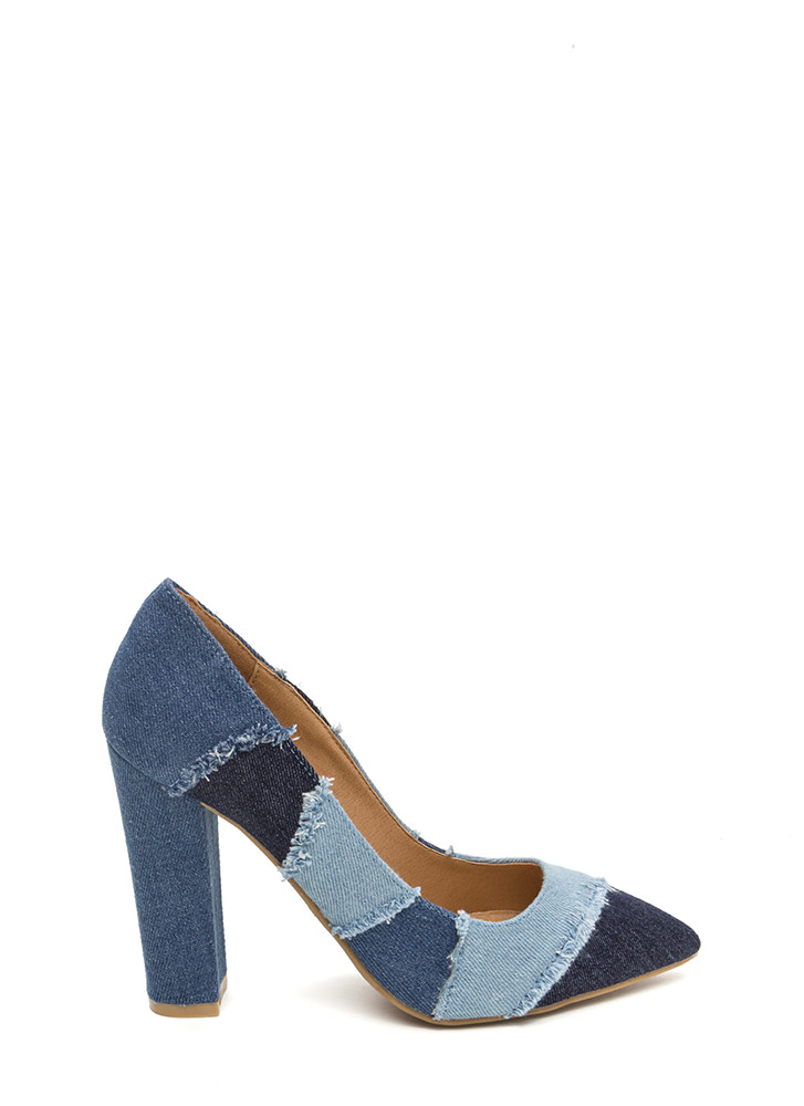Fresh Patch Chunky Denim Pumps BLUE