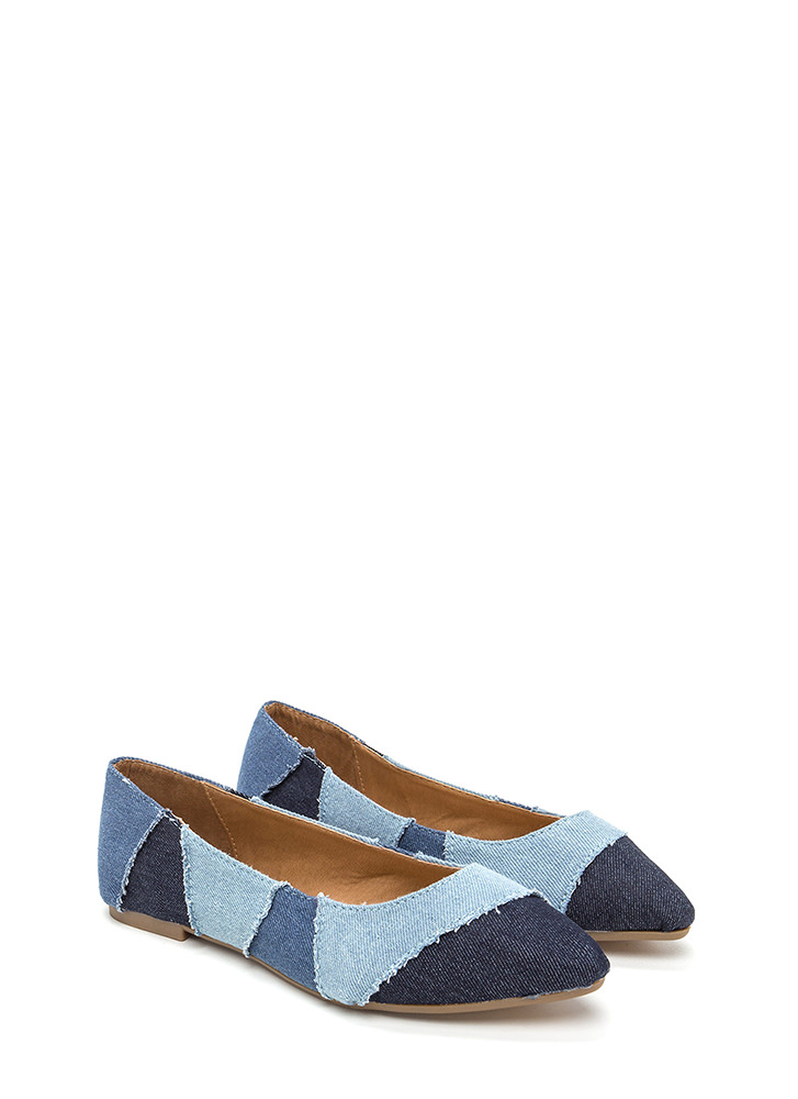 Fresh Patch Pointy Denim Flats BLUE