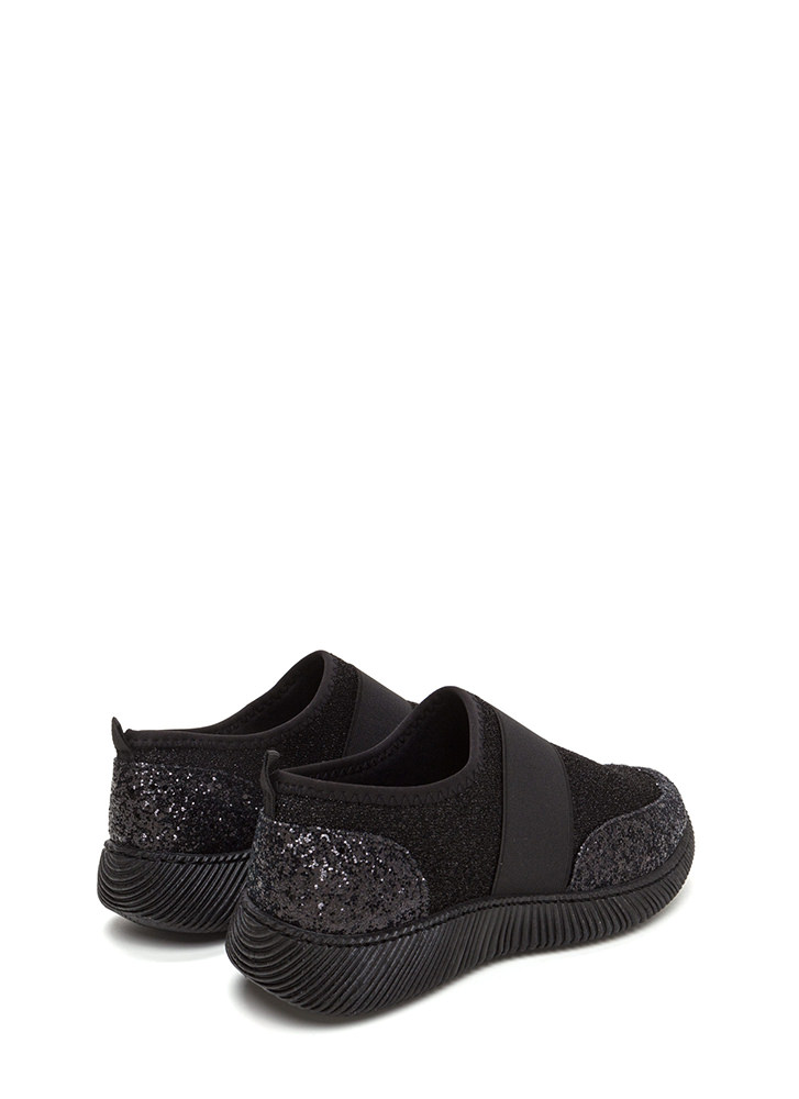 In A Band Glittery Slip-On Sneakers BLACK