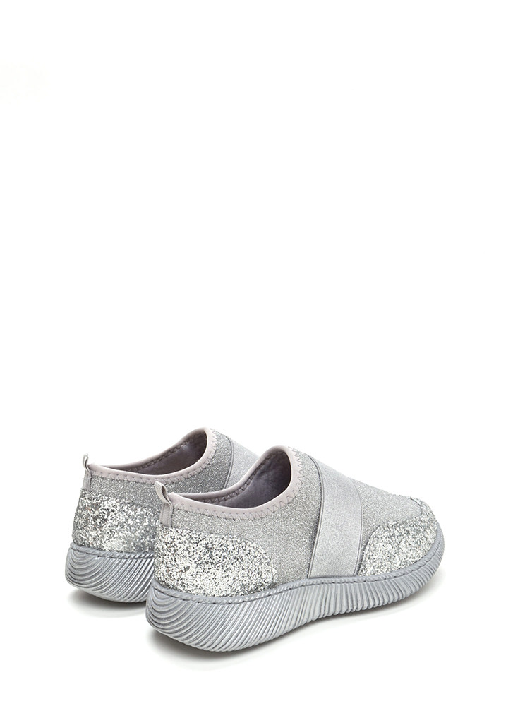 In A Band Sparkly Slip-On Sneakers SILVER