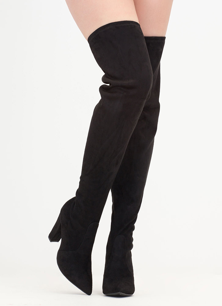 Go Chunky Faux Suede Thigh-High Boots BLACK