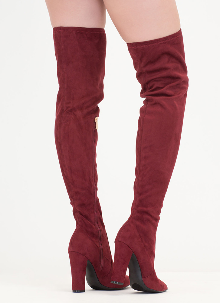 Go Chunky Faux Suede Thigh-High Boots BURGUNDY