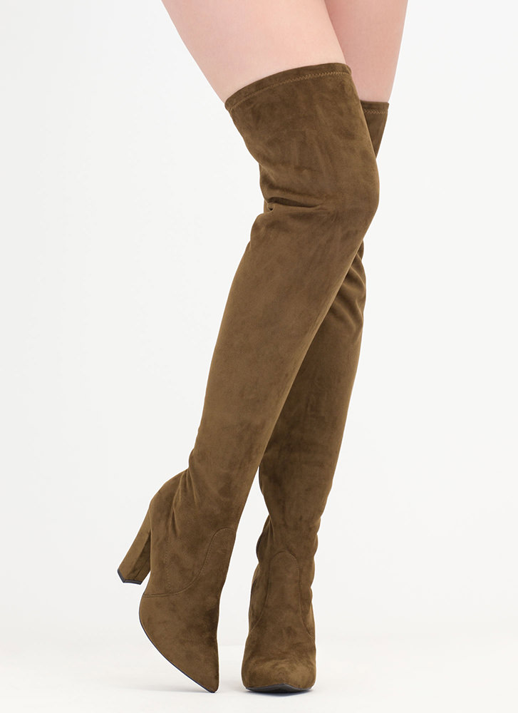 Go Chunky Faux Suede Thigh-High Boots OLIVE (Final Sale)