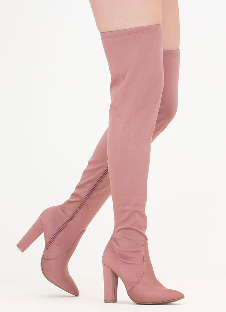 Go Chunky Satin Thigh-High Boots DKBLUSH