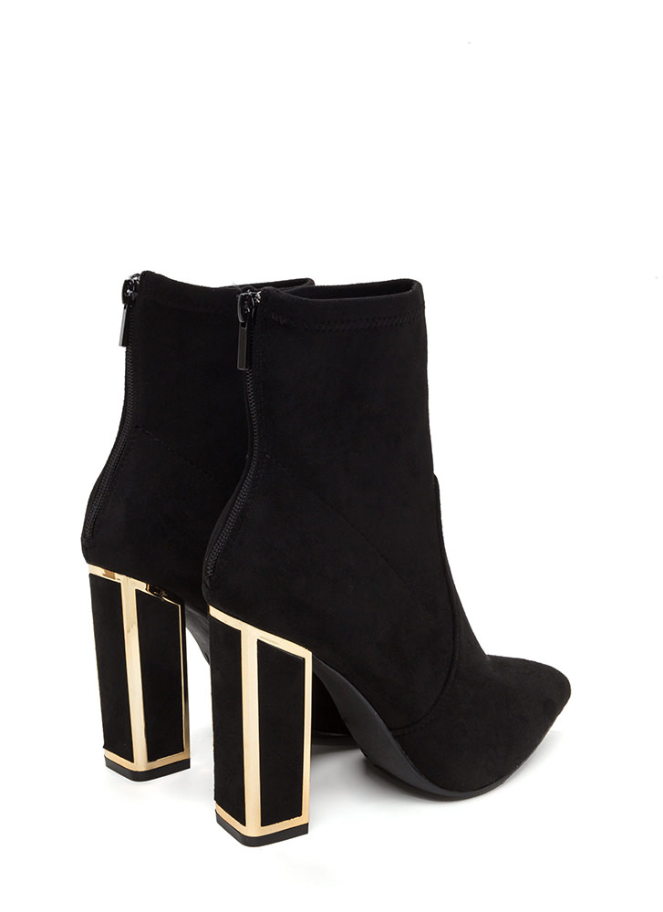 I've Been Framed Chunky Pointy Booties BLACK