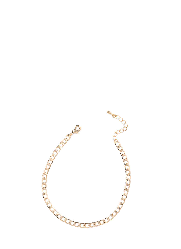 Modern Elegance Curb Chain Anklet GOLD