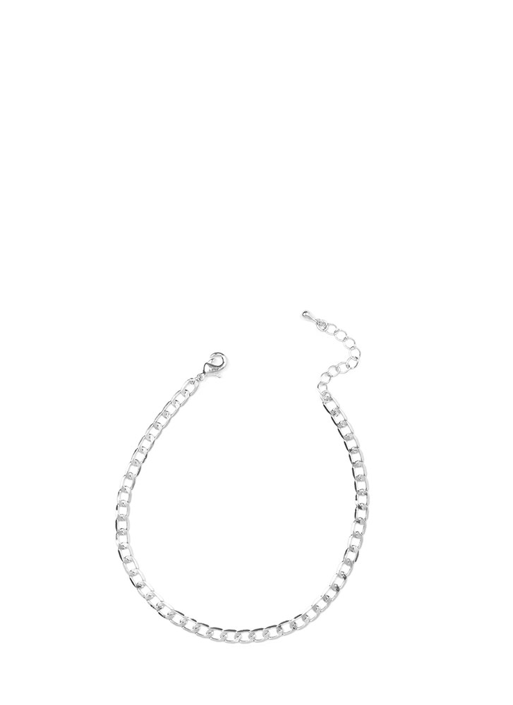 Modern Elegance Curb Chain Anklet SILVER