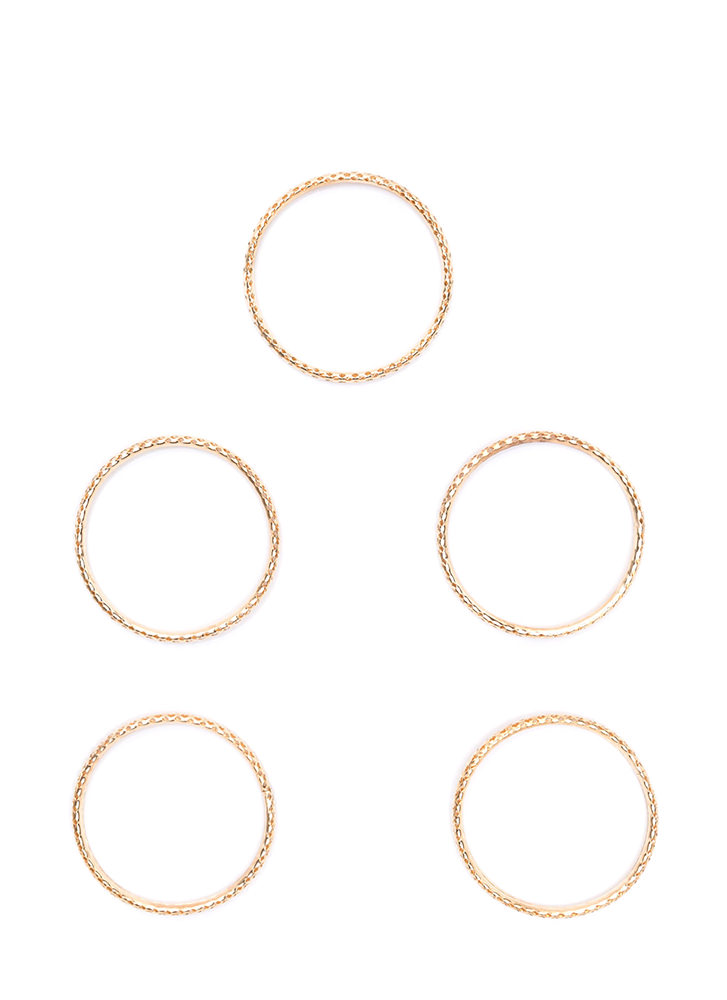 Stack To Business Perforated Bangle Set GOLD