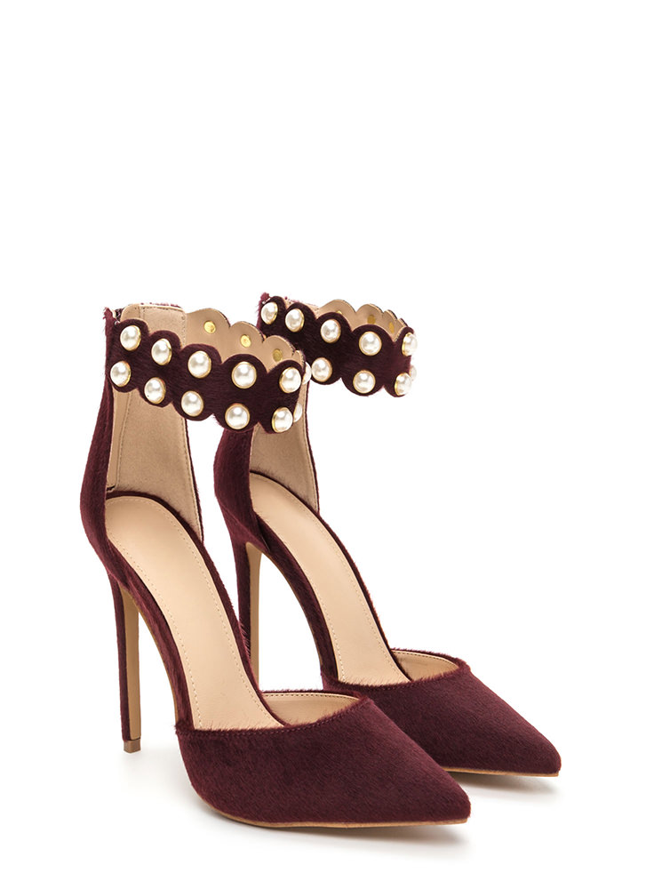 Elegant Pearls Faux Pony Hair Heels WINE