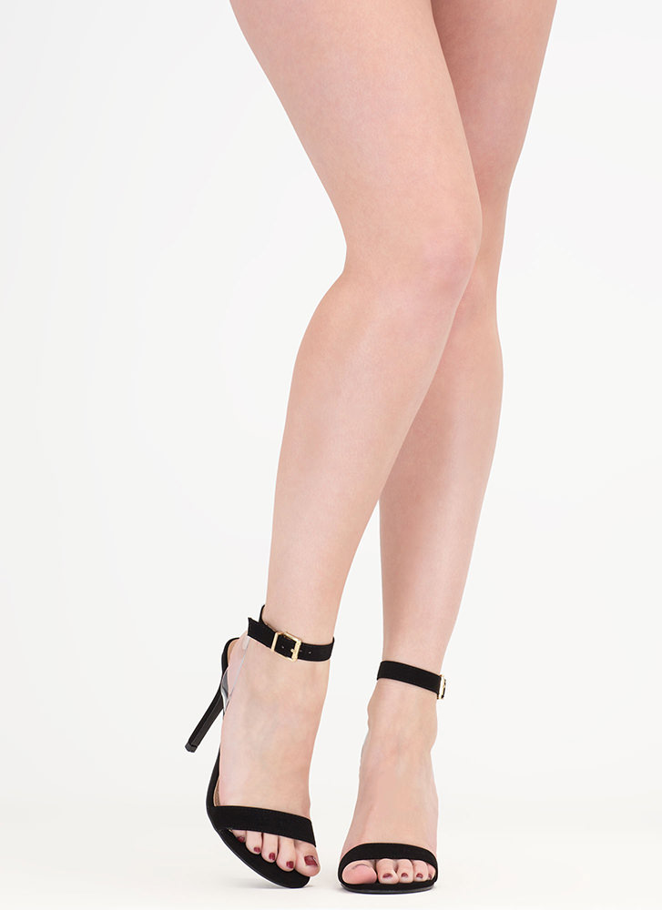 Clear Day Strappy Faux Suede Heels BLACK