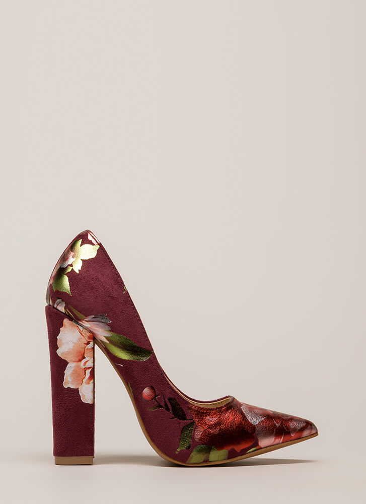 Gleaming Floral Décor Pointy Heels WINE