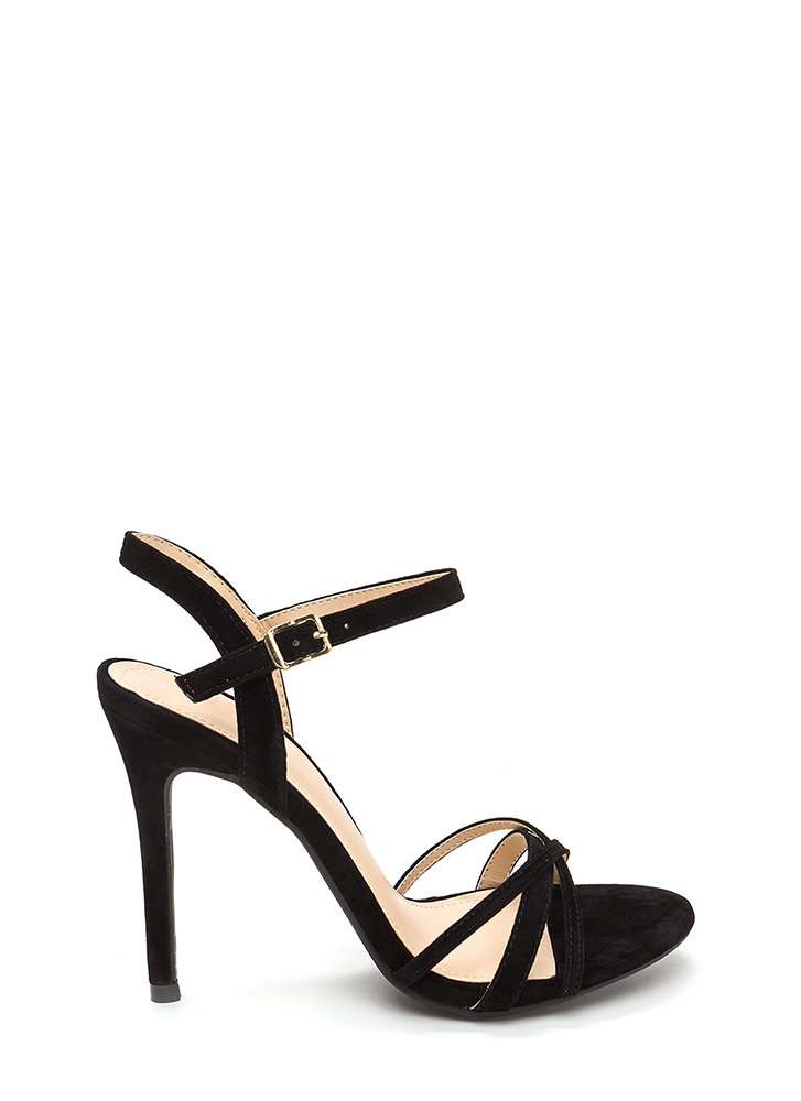 Three's Company Strappy Faux Suede Heels BLACK