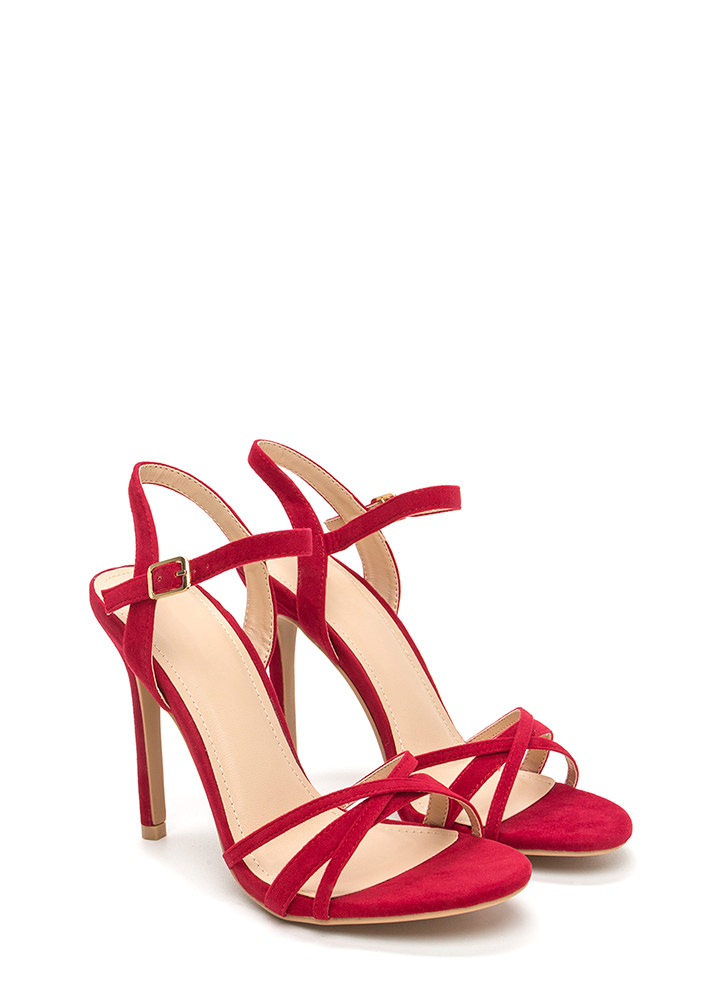 Three's Company Strappy Faux Suede Heels RED