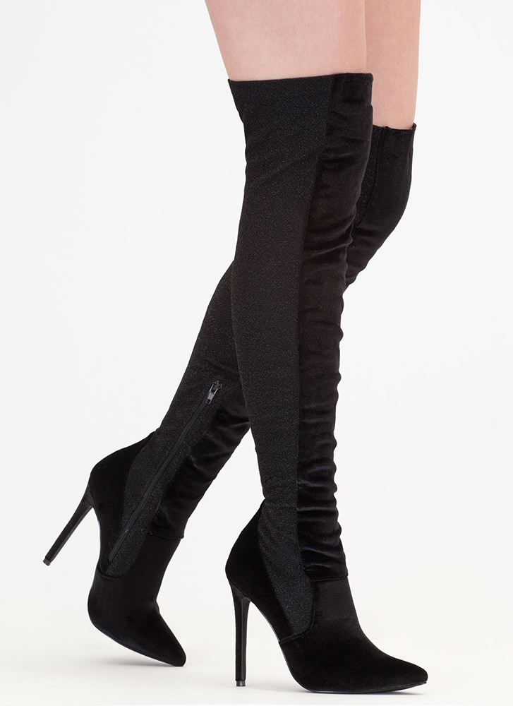 Space Out Glittery Thigh-High Boots BLACK