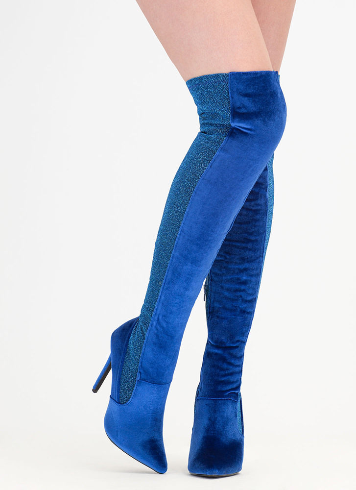 Space Out Glittery Thigh-High Boots BLUE