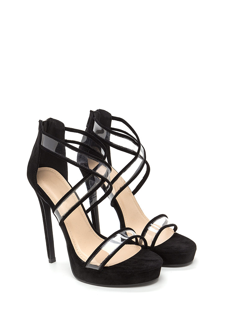 Clear Mind Strappy Faux Suede Heels BLACK