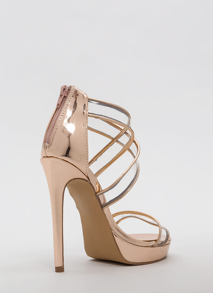 Clear Mind Strappy Metallic Heels ROSEGOLD (Final Sale)