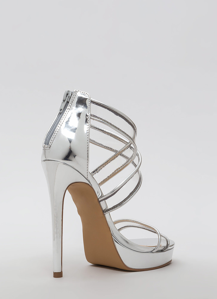 Clear Mind Strappy Metallic Heels SILVER