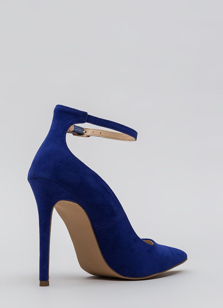 Sensual Curves Pointy Faux Suede Heels BLUE