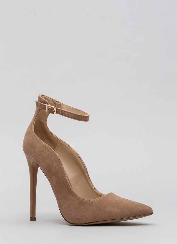 Sensual Curves Pointy Faux Suede Heels TAUPE