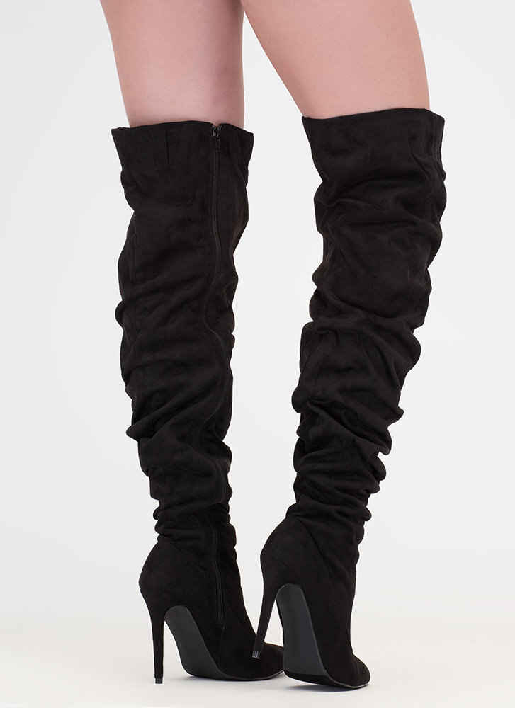 No Slouch Faux Suede Thigh-High Boots BLACK