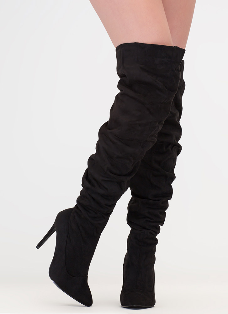 f9664be4c69 No Slouch Faux Suede Thigh-High Boots MAROON BLACK MAUVE - GoJane.com