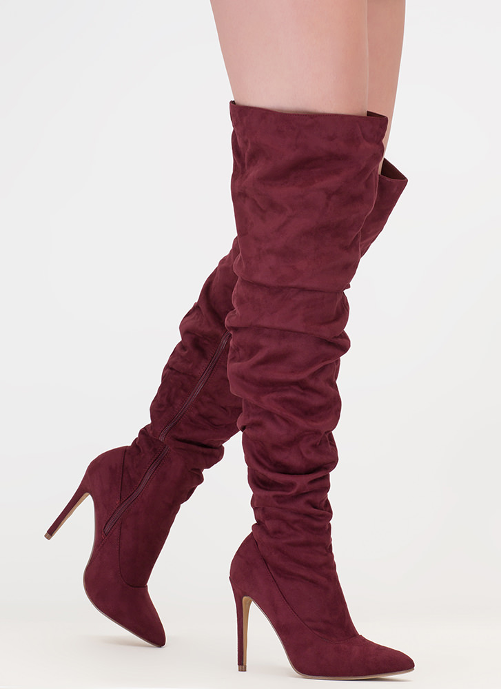 No Slouch Faux Suede Thigh-High Boots MAROON