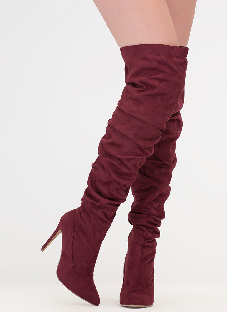 226d0616eed4 No Slouch Faux Suede Thigh-High Boots MAROON BLACK MAUVE - GoJane.com