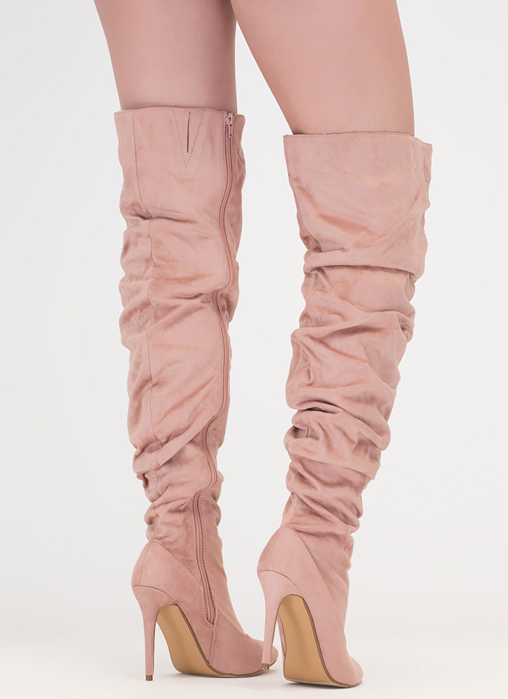 No Slouch Faux Suede Thigh-High Boots MAUVE