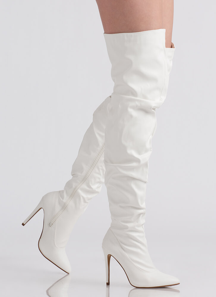 No Slouch Faux Suede Thigh-High Boots WHITE