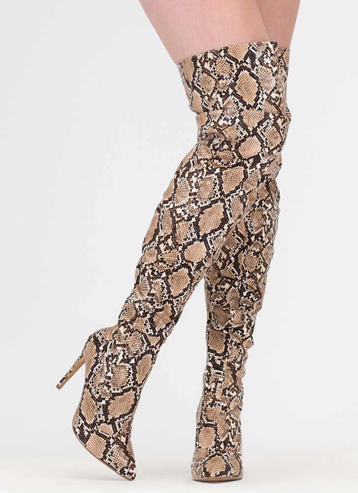 No Slouch Snake Print Thigh-High Boots BROWN