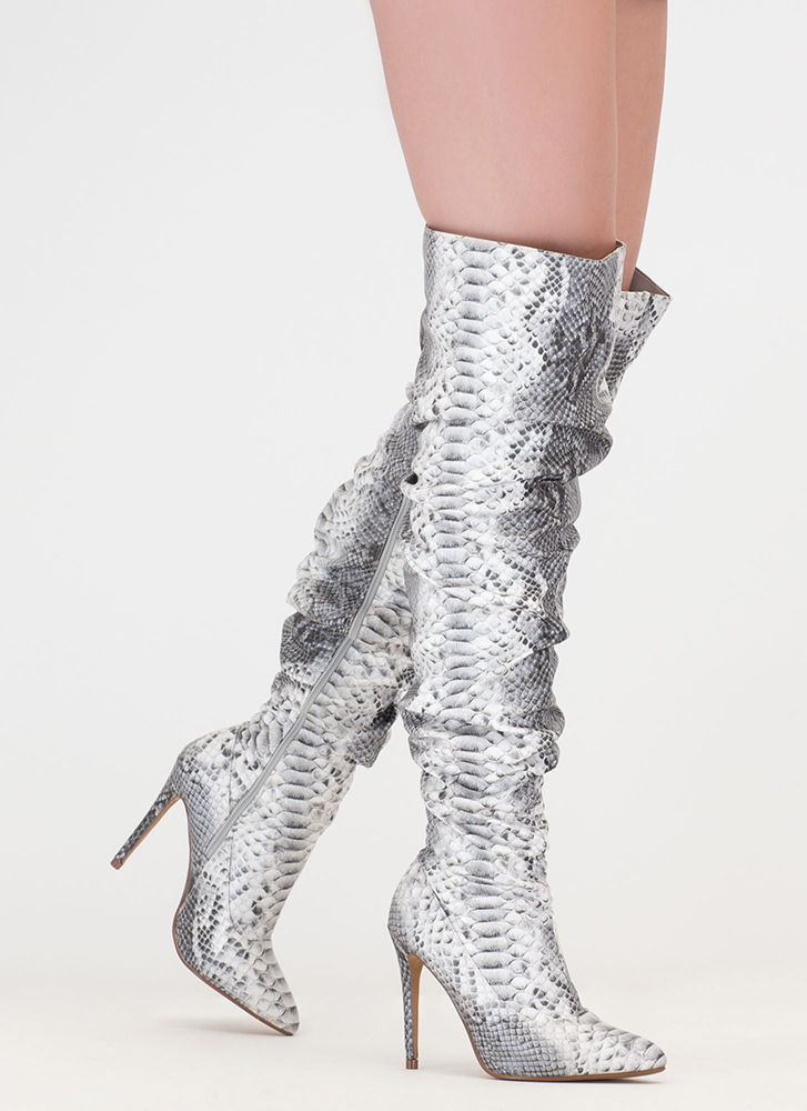 No Slouch Snake Print Thigh-High Boots SNAKE