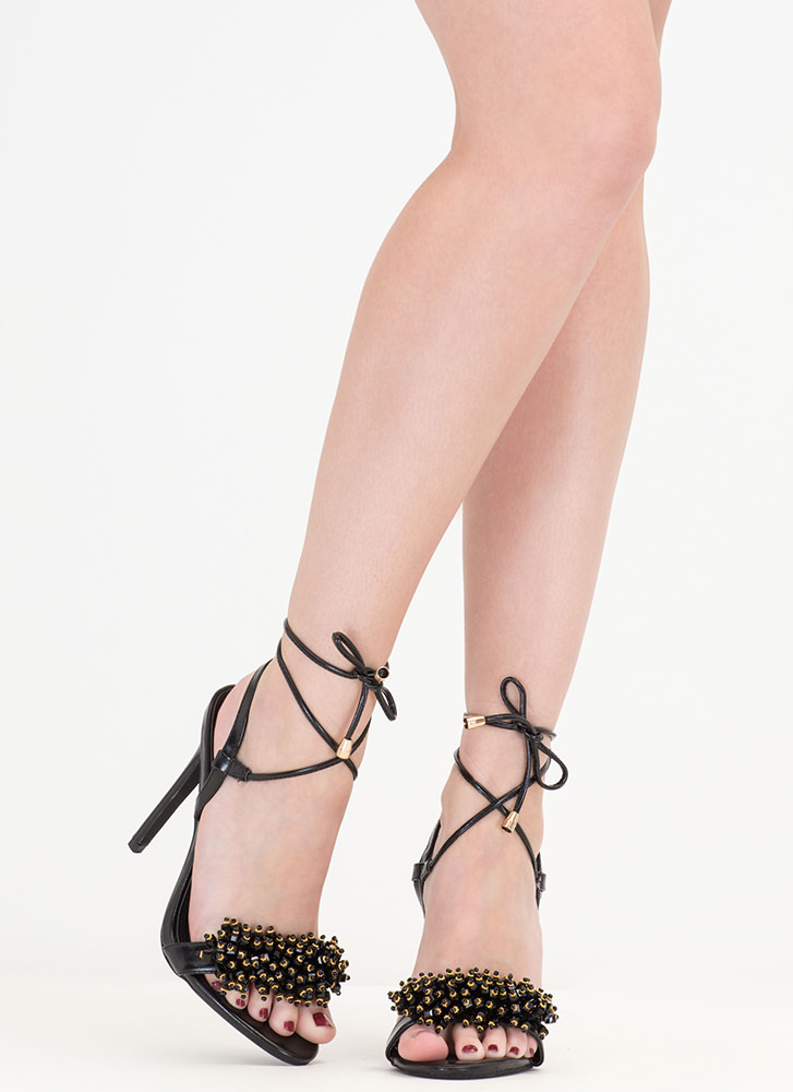 Bead Me To It Jeweled Lace-Up Heels BLACK